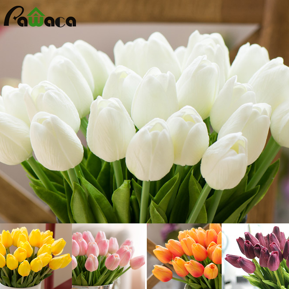 10pcs Artificial Flowers PU Tulips Artificial Bouquet Fake Vivid Real Touch Flower Tulip For