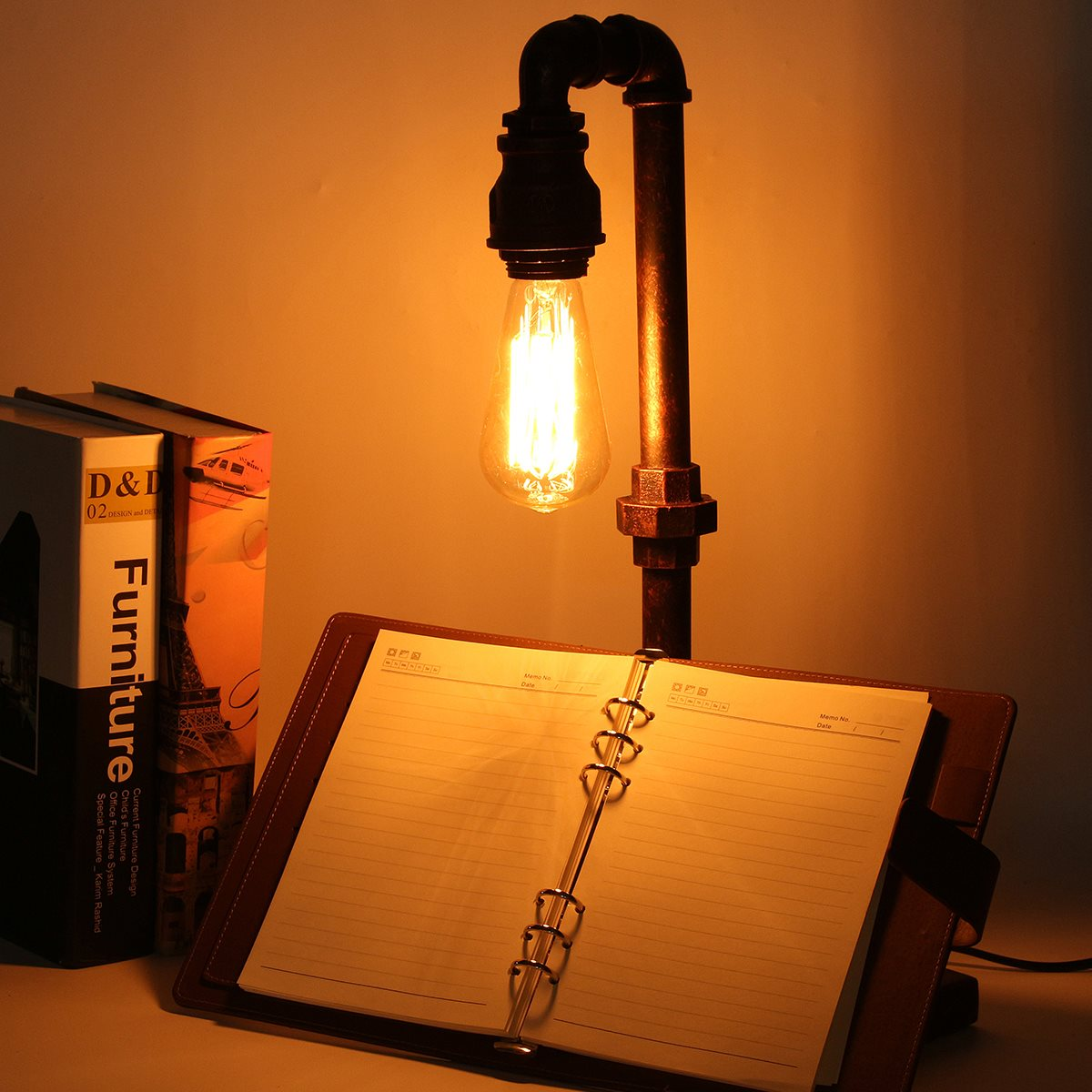 Retro Vintage Industrial Iron Pipe Table Light Switch Lamps For Bedroom Living Room Desk Lamp Reading US Plug