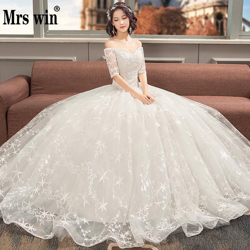 Vestido De Novias 2020 Mrs Win Half Sleeve Sexy V-neck Ball Gown Luxury Wedding Dresses Star Embroidery Wedding Gown Plus Size F