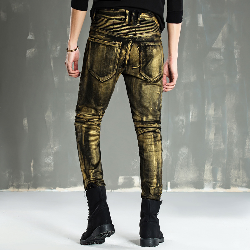 Hot Sale 2017 New Arrival Four Season Men Jeans,Retail & Wholesale Slim Straight Pants Gold Coating Brand Cotton Jeans Men