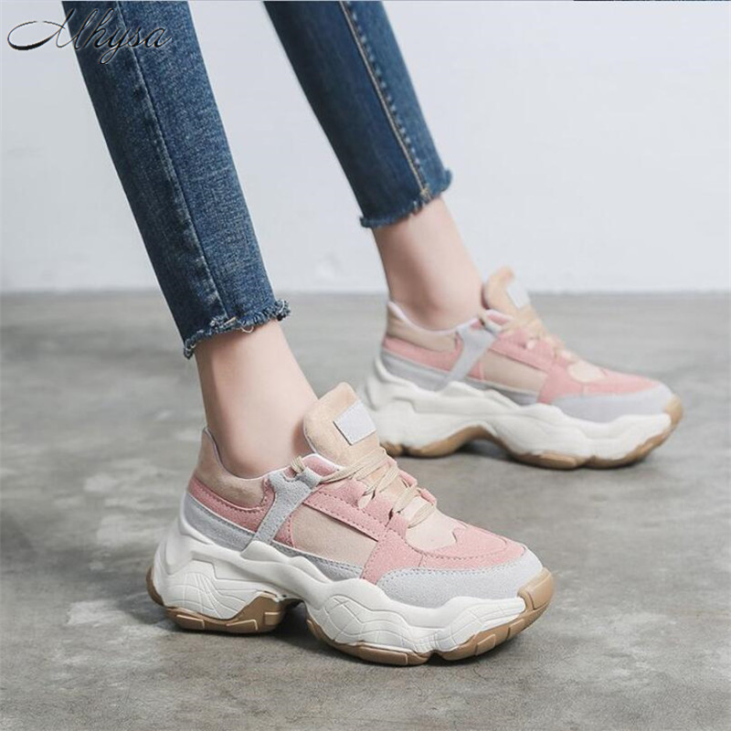Mhysa 2019 Spring New Women's Mixed Colors Chunky Sneakers Women Casual Platform Shoes  Female Dad Shoes Chaussure Femme T501