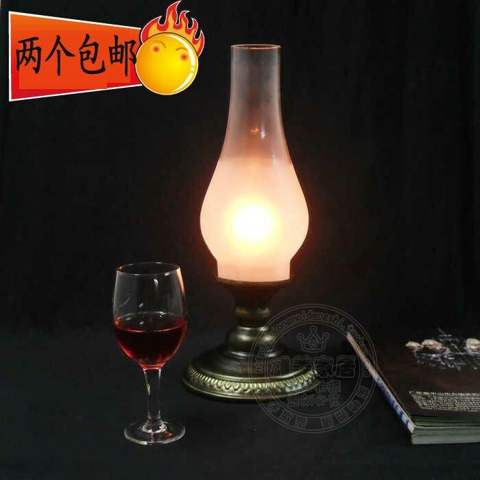 Мода Настольная лампа старинные керосин, фонарь Романтический прикроватные затемнения