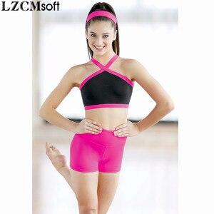 Image 3 - LZCMsoft สตรีผอมกางเกงขาสั้นเต้นรำไลคร่าเอวสูงออกกำลังกายกางเกงยิมนาสติกหญิงประสิทธิภาพการทำงานของกางเกงขาสั้น Dancewear