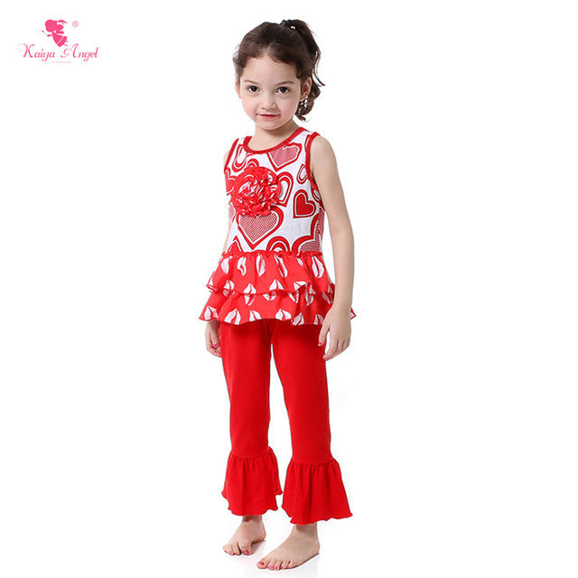 Wholesale Valentineu0027s Children Girl Clothing Sets Valentine Outfit Toddler  Girl Clothing Red Heart Sweet Boutique Kids