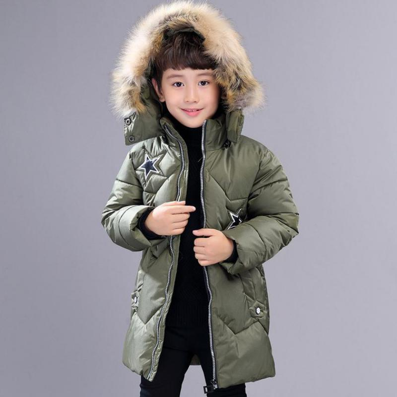 Winter Coat Down Kids Long Thick Boy Winter Jackets For Boy Outerwear Fur Collar Children's Down Jacket For Boys Manteau Garcon russia winter boys girls down jacket boy girl warm thick duck down