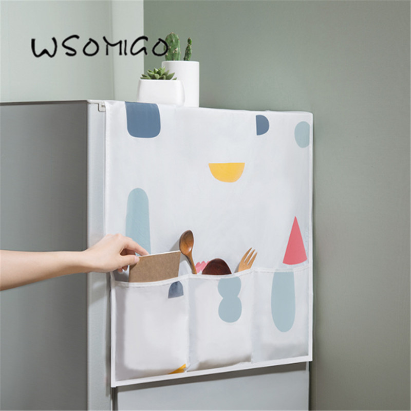 1pcs kitchen accessories refrigerator cover cloth dust cover household freezer top hanging bag storage bag kitchen gadget-C image