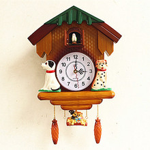 quartz Clocks watches Cuckoo clock wall clock cuckoo clock creative garden living room bedroom real time watch birds cartoon chi