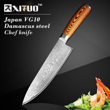 XITUO 8″ inch kitchen knife damascus Japanese vg10 chef knife Damascus steel sharp santoku knife wood handle wholesale price EDC
