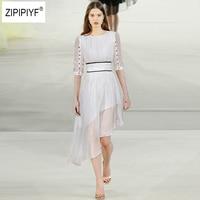New 2018 Summer Designer Party Fairy Slim Dress Women's Sexy O Neck Solid 3/4 Button Sleeve Draped Irregular Silk Dress B1020