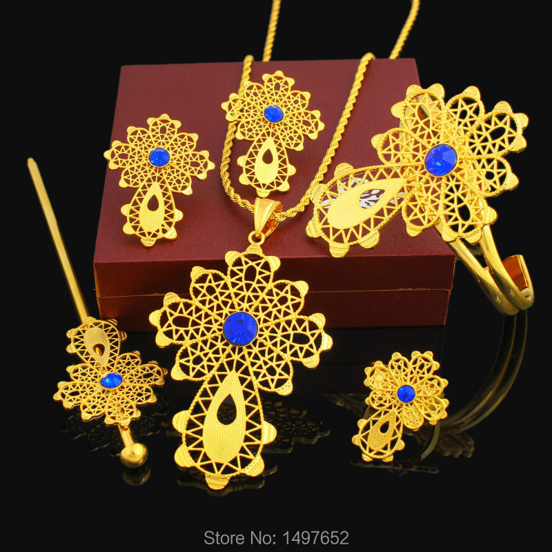 Latest Ethiopian Cross Set Jewelry Necklace/Pendant/Bangle/Earring/Ring/Hairpin 24k Gold Color African Bridal Wedding SetLatest Ethiopian Cross Set Jewelry Necklace/Pendant/Bangle/Earring/Ring/Hairpin 24k Gold Color African Bridal Wedding Set