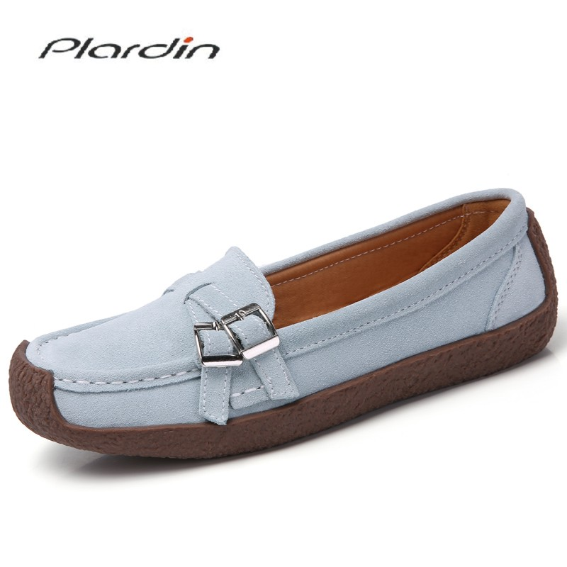 Plardin Spring Autumn Women Moccasins Women's Flats Genuine   leather   Shoes Woman Lady Loafers Slip On   Suede   Shoes mocasines mujer