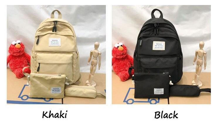HTB17SmBaLc3T1VjSZPfq6AWHXXag Nylon Backpack Women Backpack Solid Color Travel Bag Large Shoulder Bag For Teenage Girl Student School Bag Bagpack Rucksack