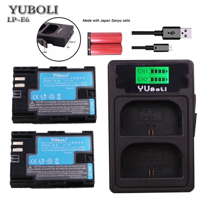 Batterien Led Dual Usb Ladegerät Für Canon Eos 6d 7d 5ds 5dsr 5d Mark Ii 5d 60d 60da 70d 80d 2 Stück Lp-e6 Lp E6 Lp-e6n Batterie Japan Sanyo Zellen Stromquelle