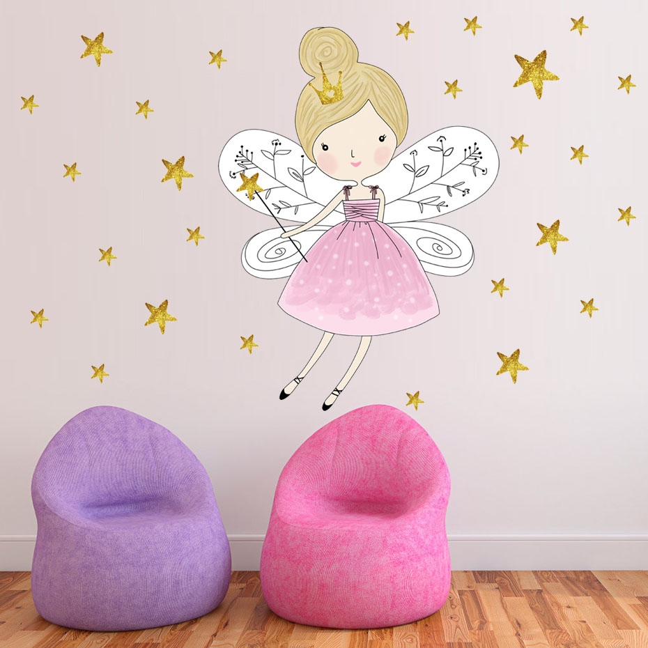 44pcs Stars Cartoon Fairy Girl Wall Sticker Removable PVC Magic Princess Decals For Kid Room Girls Gift Poster DIY Home Decor