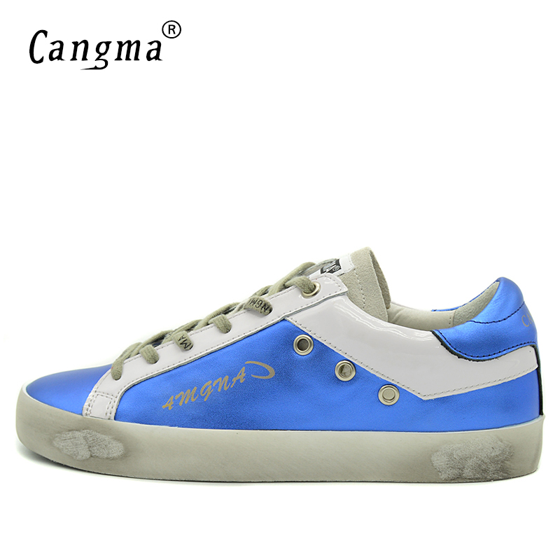 Image 3 - CANGMA Blue Shoes Leather Men Genuine Men Casual Platform  Sneakers Shoes Adult Male Breathable Footwear For Men Valentine  ShoesMens Vulcanize Shoes