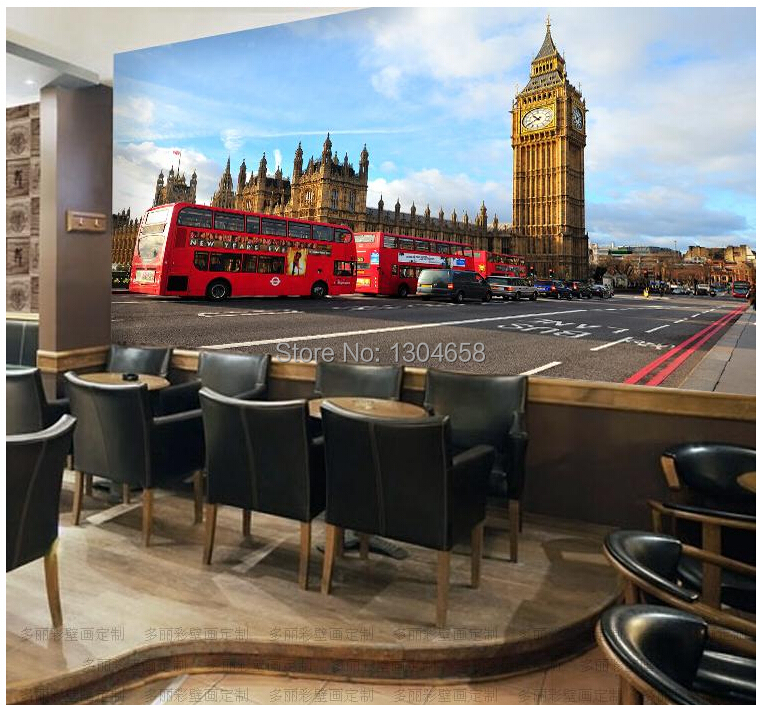 Free shipping custom retro style of England red bus Ben television background wall mural wallpaper free shipping custom 3d mural retro european buildings in paris coffee hall the television background wall wallpaper