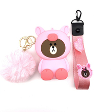 Q UNCLE Lanyards 3D Cartoon Cute Phone Lanyard Pink Pig Shape Multi-function Money Storage