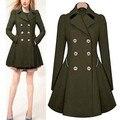 2016 Новый Темно-зеленый/синий/черный/белый Женская мода Элегантный Длинные Двойной Брестед slim fit Классический Тренч пальто
