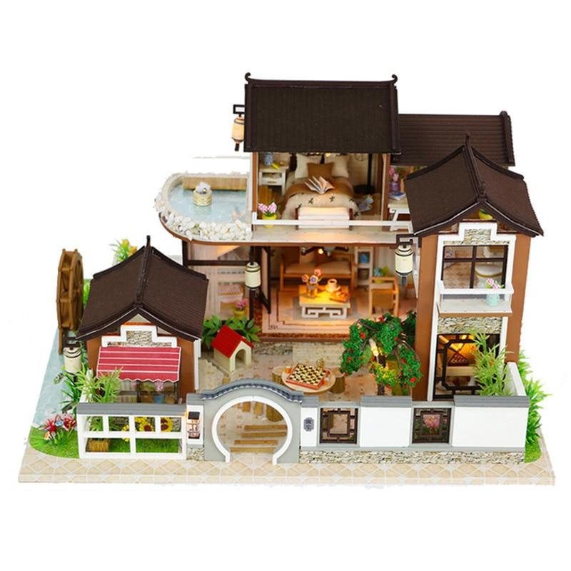 Kit de montaje en miniatura de madera para casa de muñecas hecho a mano, Kit de montaje en miniatura con muebles Led, juguetes para casa, regalo para niños-in Muñecas de porcelana from Juguetes y pasatiempos    1