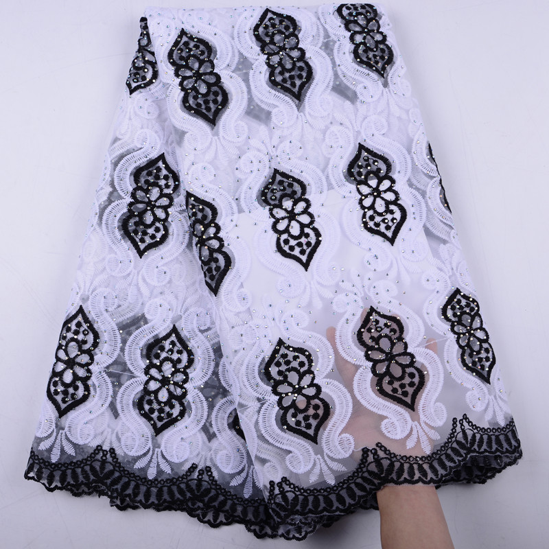 French Nigerian Lace Fabrics High Quality Tulle Stones African Laces Fabric Wedding African French Tulle Lace