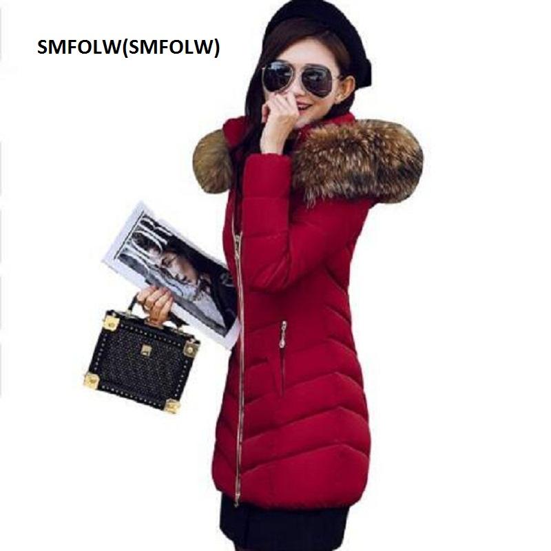 SMFOLW Fashion Winter Jacket Women Parka Outerwear Female Down Jackets With Large Fur Collar Plus Size Thickening Long Coat 2017 new winter jacket women coat plus size female slim parka collar outerwear basic down top casual long jackets