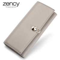 Zency Hot Sale 100 Genuine Cow Leather Fashion Women Long Wallet Large Capacity Ladies Purse Coin