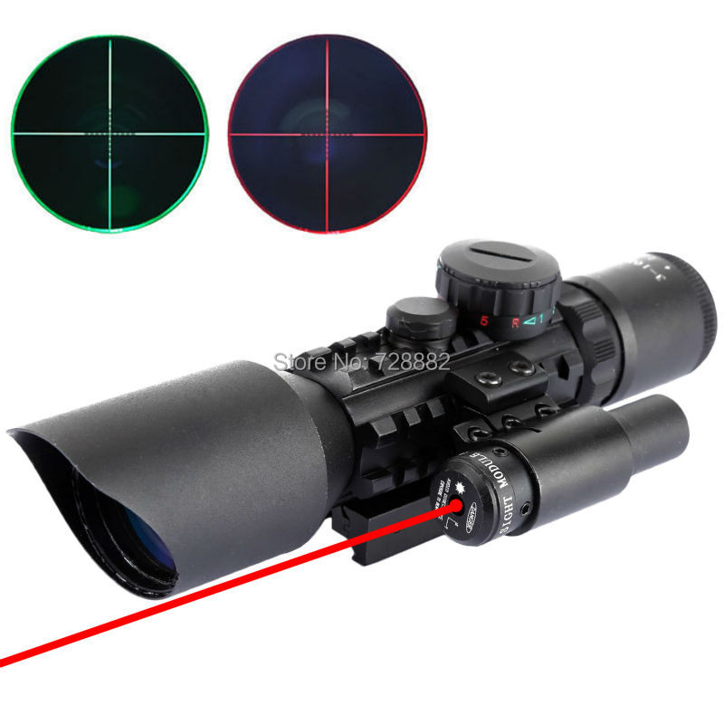 Tactical 3.5-10x40 Mil Dot Red Green Optics Riflescope With Red Laser Fit Picatinny Weaver Rail Free Shipping vector optics tempest 1x35 multi reticle tactical red dot scope mil spec matte finish fit picatinny rail low for night vision