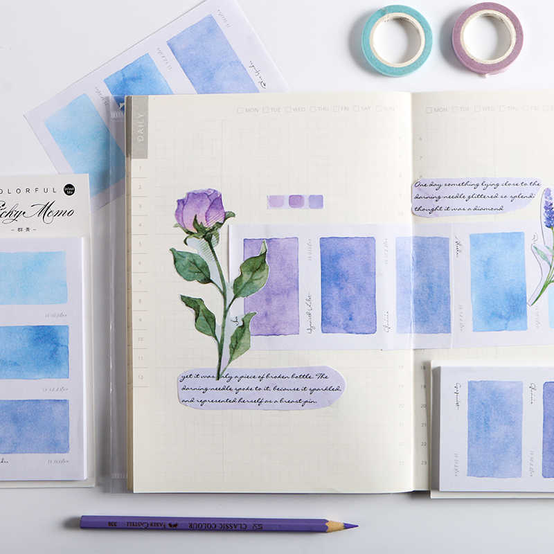 น่ารัก Sticky Note Rainbow Self Stick Self-adhesive Notes Notepads โพสต์การเขียนแผ่นกระดาษสติกเกอร์ 30 แผ่น/แผ่น