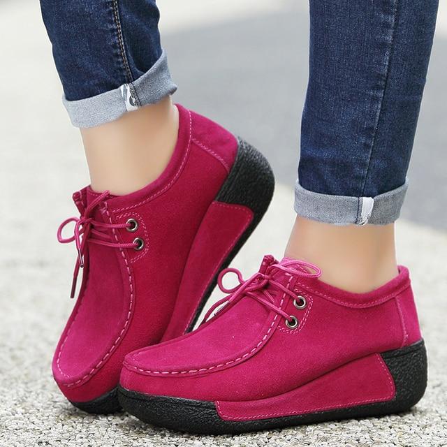 Zapatos planos de piel con plataforma para mujer, mocasines con plataforma, informales, con cordones