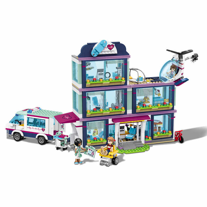 New 932pcs Friends Girl Series Compatible with Lego 41318 Blocks Toys Heartlake Hospital Kids Bricks Toy Girl Gifts