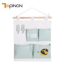 Multi Pockets Animal Canvas Hanging Storage Bag Wall Mounted Organizer Space Saver