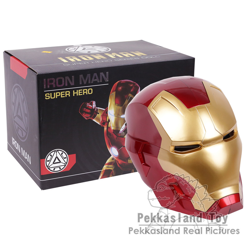 Iron Man Helmet Cosplay Mask for Adult Touch Sensing Mask with LED Light Collectible Figure Model Toy 1:1 2 Colors free shipping iron man motorcycle helmet mask tony stark mark 7 cosplay mask with led light
