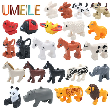 UMEILE Duplo Original Classic Animal Zoo Big Building Blocks Educational Child Baby Toys Lion Pig DIY Set Brick Gift Brinquedos