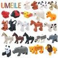 Umeile duplo original clásico zoológico de animales grandes bloques de construcción de juguetes educativos niño bebé león cerdo diy set de regalo de ladrillo brinquedos