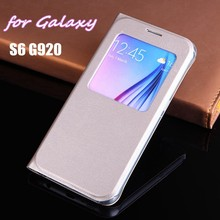 Slim Window View Shell Phone Sleeve Bag Shockproof Case Flip Back Cover Mask For Samsung Galaxy S6 G920 G920F G920H Fundas Coque