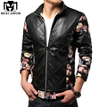 Men PU Leather Jackets European Flower Design Jaqueta de couro,Spring Fashion Jaqueta Couro Chaquetas Hombre MJ203
