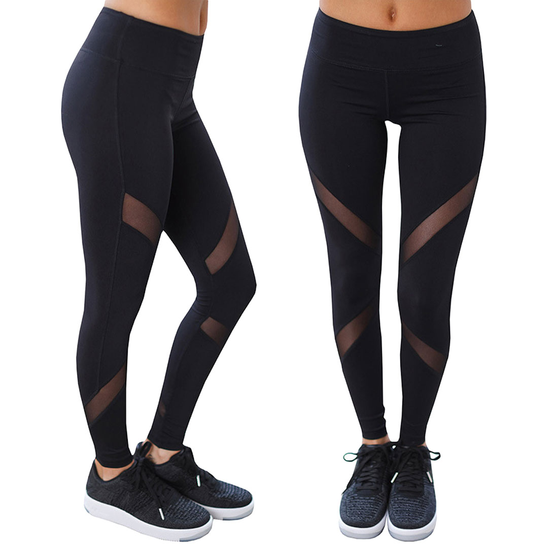 Quick-drying Net Yarn Yoga Pants Black High Waist Elastic Running Fitness Slim Sport Pants Gym Yoga Leggings For Women Trousers