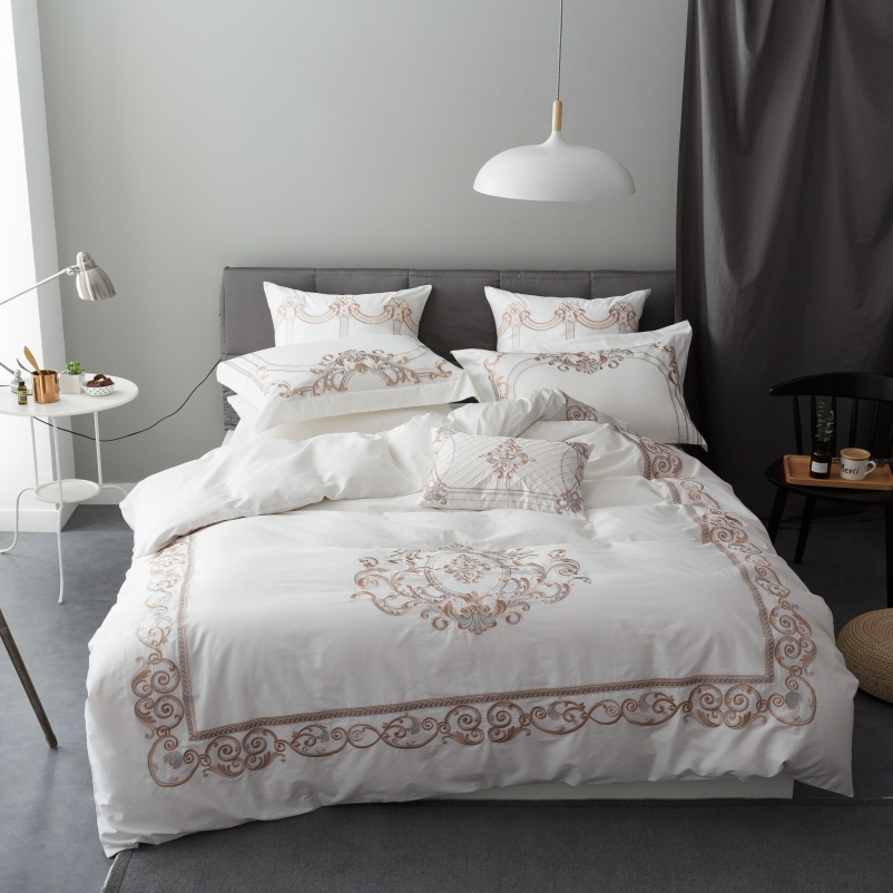 New White embroidery Luxury Bedding Set King Size Queen Size Boho Bed Set Egyptian Cotton Duvet Cover Bed Sheet
