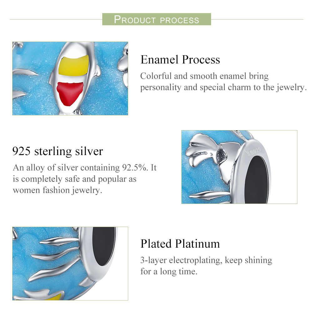 WOSTU высокое качество 925 серебро Морской мир, синие эмалевые бусины для оригинальной Подвески Браслеты для женщин ювелирные изделия подарок CQC235
