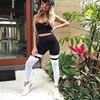 Women Fitness Leggings Casual Workout Pants Pencil Stretchy Trousers Gradient Legging Skinny Leggins Gothic Mesh Insert Leggings 12