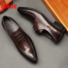 OMDE British Brown Leather Pointed Toe Business Mens Shoes Fashion Lace-up Man Shoes Handmade Formal Shoes Men Wedding Shoes цены онлайн
