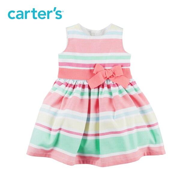 f9b4aabb5d Carter 1 pcs bebê crianças crianças Listrado Vestido de Cetim 120G135