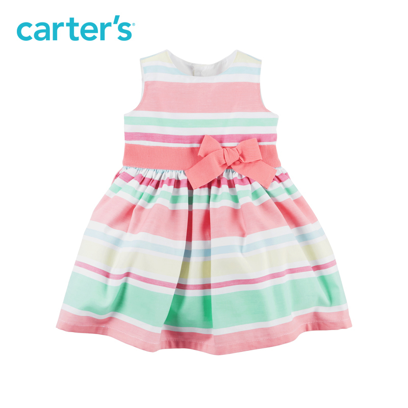 Carter's 1pcs baby children kids Striped Sateen Dress 120G135,sold by Carter's China official store carter s 3pcs baby children kids 3 piece babysoft footed pant set 126g315 sold by carter s china official store