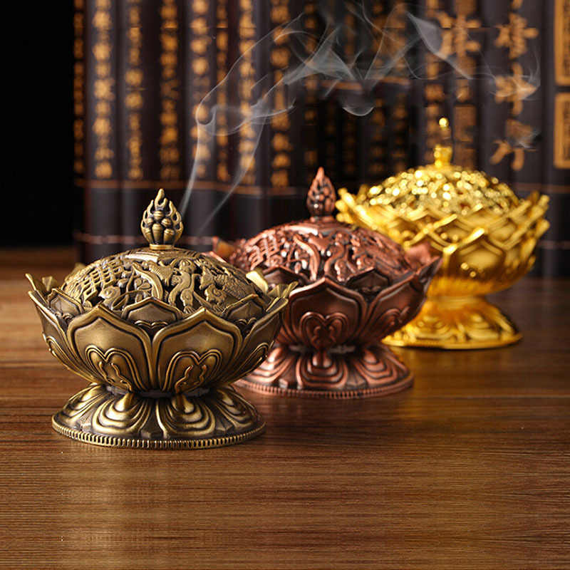 7*7cm Alloy Incense Burner Chinese Buddha Incense Holder Lotus Censer for Home Living Room Decoration