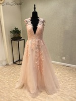 New Amazing Long Prom Dresses 2018 V Neck Cap Sleeve A Line Appliques Tulle Party Dresses