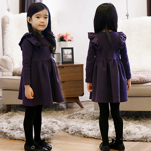 The Child's Dress In The Autumn of The Korean Version of Lotus Leaf Sleeve All-match Princess Girls Dress Kids Clothing цены онлайн