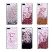Текст на заказ плавающий Блестящий розовый золотой цветочный мягкий чехол для телефона для iPhone 11 Pro Max 6S XS Max 7 7Plus 8 8Plus X XR