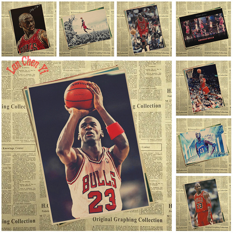 Vintage Nba Basketball Star Classic Michael Jordan Poster High