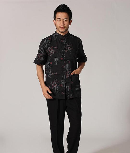 4492421e2b New Print Black Traditional Chinese Men s Kung Fu Shirt Summer Short Sleeve Casual  Cotton Shirt Size