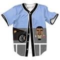 Estilo sudadera Jersey de Verano con botones 3d Hip Hop Streetwear camisetas divertidas de Los Hombres tops camisa del béisbol de la ropa superior